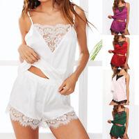 Fashion Womens Sleepwear Sleeveless Strap Lace Trim Satin Cami Top Pajama Sets