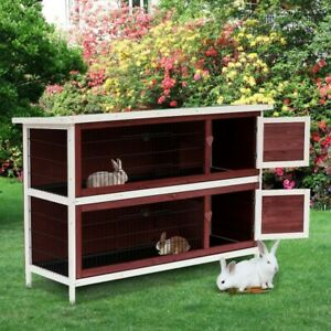 Large Rabbit Hutch With Run Pet Guinea Pig Wood House Small Animal Cage Kennel