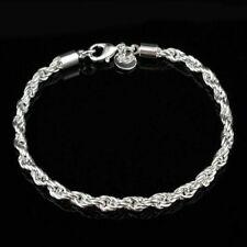 Damen Wrest verdrehtes Seil dicke Kette 8 'Zoll 4mm Armband Silber Charms G J5Z3