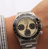 Alpha Mechanical chronograph SG2903 Watch Cream Dial And Glass Display Back