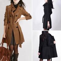 Women's Winter Warm Wool Long Slim Fit Coat Jacket Trench Parka Overcoat Outwear