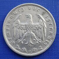 Germany 1 Reichsmark Coin~1936 (D) Third Reich~KM#78~Nickel 4.85g~VF~#1075
