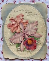 Vintage 1940s Die-Cut Embossed Birthday Orchids Lily of the Valley Greeting Card