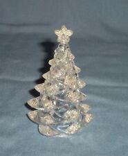 "4"" Clear Glitter Christmas Tree Figurine Miniature Dollhouse Village Ornament"