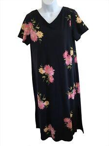 Talbots Petites Navy Floral Short Sleeve Soft Maxi Shift Dress Size Large