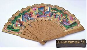 1900's Chinese Sandalwood Wood Carved Hand Painting Figure Faces Fan Lacquer Box
