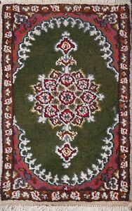 Vintage Green Floral Traditional Oriental Area Rug Hand-knotted Wool Carpet 1x2