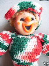 "Circus Clown Hand Made Crochet 18"" Tall Bright Color Crochet Fabric Doll Like"