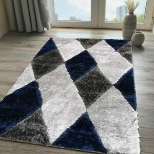 Navy Blue Shaggy Rug Non Shed Polyester Living Room Rugs Warm Grey Bedroom Rugs