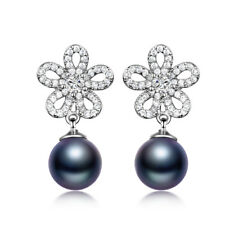 Luxury Women Flower 18K White Gold Filled Black Pearl Sapphire Stud Drop Earring