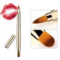 KE_ Portable Retractable Double Headed Lip Brush Lipstick Applicator Makeup To