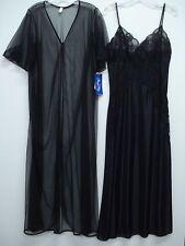 2faad55790 USA Made Nancy King Lingerie Long Peignoir Set Gown   Robe Size Med. Black