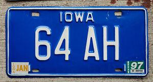 "1997 White on Blue Iowa VANITY License Plate ""64 AH"" 1964 Austin-Healey"