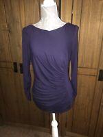 L K Bennett Ladies Size Large Blue Purple Top Flattering Style 12 14