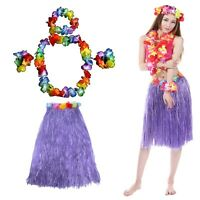 2 x Hawaiian Lei Hula Grass Skirt & 4 Piece Flower Garlands Fancy Dress Set HW19
