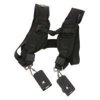 Black Double Shoulder Sling Belt Quick Rapid Strap for 2 DSLR Digital Camera