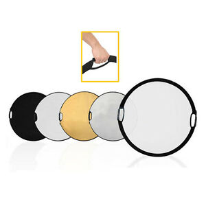 """43"""" 120 CM 5 in 1 Round Portable Collapsible Multi Disc Light Reflector handle"""