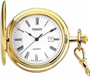 Tissot Swiss Savonnette White Dial Gold Date Pocket Watch T83455313