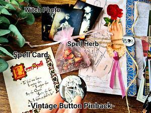 Vintage Ephemera Folder Journal fortune teller witchcraft spell Button Pinback