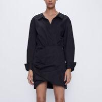 ZARA NEW F/W 2020. DIVINE SHORT SHIRT V-NECKLINE DRESS BLACK. REF 7385/101