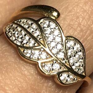 GOLD LEAF RING anillo de hoja 14k yellow simulated diamond  9.5 7 8 9