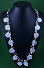 Chunky Silver Link Chain Silver Colour Roman Coin  Long Lagenlook Necklace 33 ""