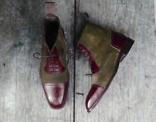 Men's Handmade Ankle High Burgundy Brown Lace Up Leather & Suede Cap Toe Boots