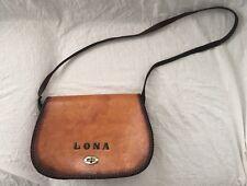 Vintage Hippie Leather Saddle Bag Cross Body Name LONA Purse Messenger Shoulder