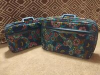 Pair of vintage 60s 70s Bantam Travelware Floral Mod Hippie Luggage Bag Suitcase