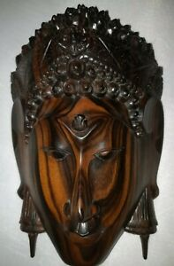 Buddha Head Face Figure Hand Carved Mask Decor Vintage Wall Hang Wood Statue Art