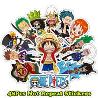 48Pcs One Piece Anime Cartoon Stickers Laptop Luggage Car Decals Waterproof PVC