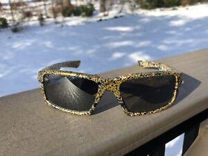 Custom Oakley Twitch Sunglasses Gold Silver Splatter w/ Black Iridium Lenses