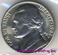 1982 P & D Jefferson Nickel Choice/Gem Bu from original rolls sets 2 coins