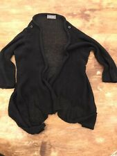 Wooden Ships Knit Sweater Cardigan Button Shoulder Black Ipen Cardigan S
