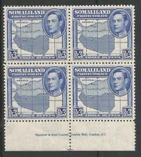 SOMALILAND PROTECTORATE SG103  1938 GVI  $3 BRIGHT BLUE SUPERB MNH IMPRINT BLOCK