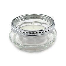 Teelichthalter aus Glas mit Perlenkante aus Metall