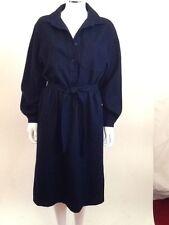 Vintage Navy Blue Wool Tie Waist Wool Midi Shirt Dress European Size M - L