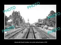 OLD LARGE HISTORIC PHOTO OF HARDEEVILLE SOUTH CAROLINA RAILROAD STATION c1950