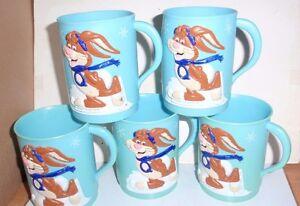 SET OF 5 VINTAGE BLUE PLASTIC NESTLE QUIK PLASTIC HANDLED MUGS ~ EUC