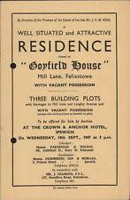 1947. Felixstowe. 'Coyfield House', Mill Lane.  House. Sale.  E4.214