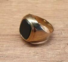 Ring Gold 585 Damen Herren Goldring schwarz/grüner Stein - 6,1 g gesamt