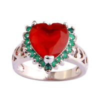 Exquisite Heart Ruby Emerald Gemstone Jewelry Silver Ring Size 6 7 8 9 10 11