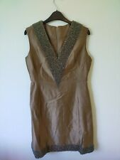 Vintage 50s 60s Raw Silk Cocktail Shift Dress Heavily Beaded Vintage Events Chic
