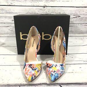 Bebe Farnaz Pumps Shoes Floral Pink White Blue  Size 7 M High Heel Stilettos