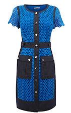 Karen Millen En Encaje Y Algodón Denim Camisa Vestido Talla 12