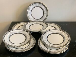 """Wedgwood Colonnade Black 6"""" Bread and Butter Plates Set of 12"""