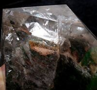 "4.9lb Natural Quartz ""Stone in Stone"" &Green Phantom Crystal Wand Point Healing"