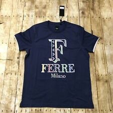 Ferre Milano Tshirt For Men NWT Dark Blue Screen Printed Logo Size Large