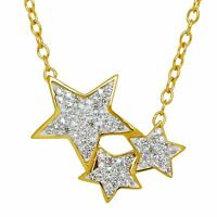 Crystaluxe Shooting Star Necklace Swarovski Crystals in 18K Gold Sterling SIlver
