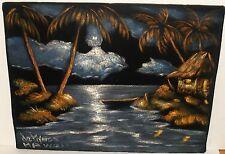 "JOHN DE PONCE ""MOONLIGHT SCENE KONA HAWAII"" ACRYLIC ON VELVET PAINTING C.O.A."